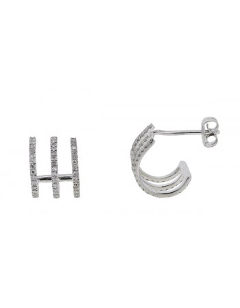 Diamond earrings in white gold - 18 K gold: 1.59 Gr