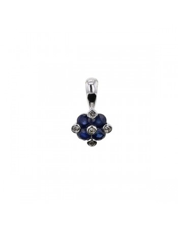 Sapphire and diamond pendant in 18 K gold