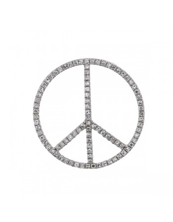 Pendentif grand peace and love pavé de diamants en or blanc