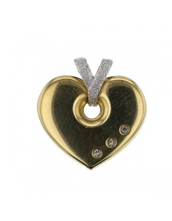Crossed hook heart pendant with diamond in 18 K gold