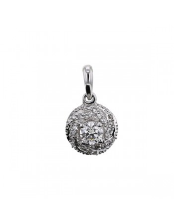 Diamond pendant in white gold - 18 K gold: 1.14 Gr