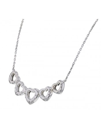 Silver and diamonds necklace - silver 925/1000: 8.80 Gr