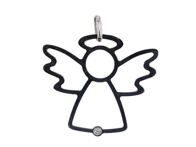 Angel shaped pendant with a diamond in 18 K gold