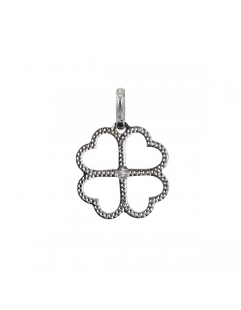 Four-leaf clover pendant with diamond in 18 K gold