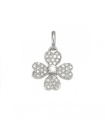 Four-leaf clover diamond pendant in 18 K gold