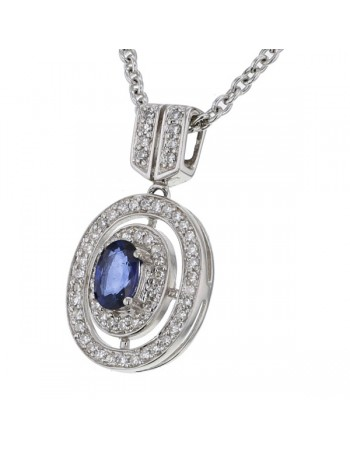 Diamond halo sapphire pendant with the chain in 18 K gold