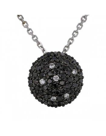 Collier ronde pavée diamants noirs et blancs en or blanc
