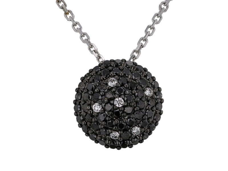 Disc pave set black and white diamonds necklace in 18 K gold