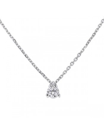 Collier solitaire diamant 3 griffes en or blanc