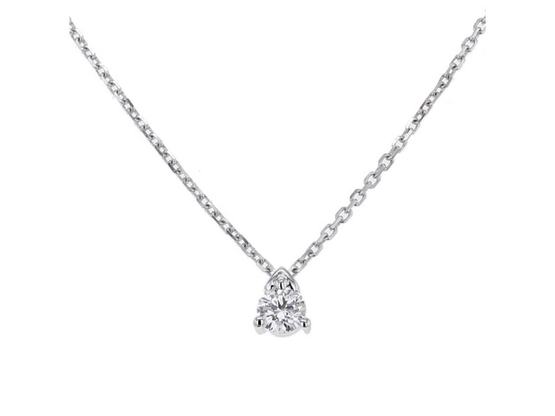 Three claw set solitaire diamond necklace in 18 K gold