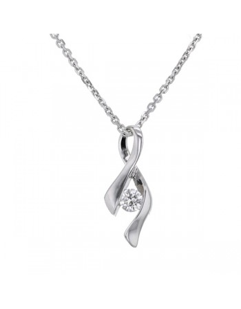 Twist solitaire diamond necklace in 18 K gold