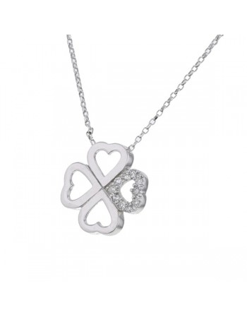 Four-leaf clover diamond necklet in 18 K gold