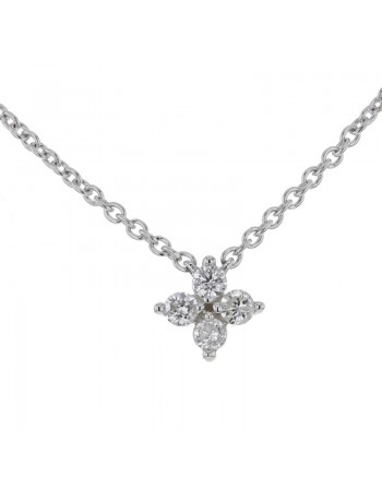 Collier trèfles diamants en or blanc