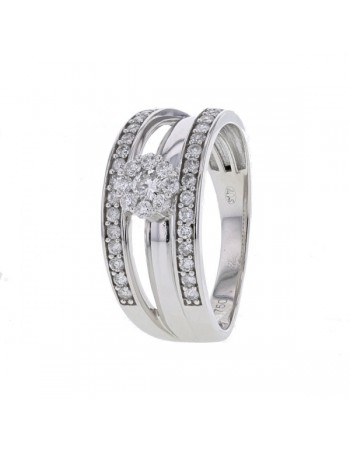 Diamond engagement ring in white gold - 18 K gold: 5.10 Gr
