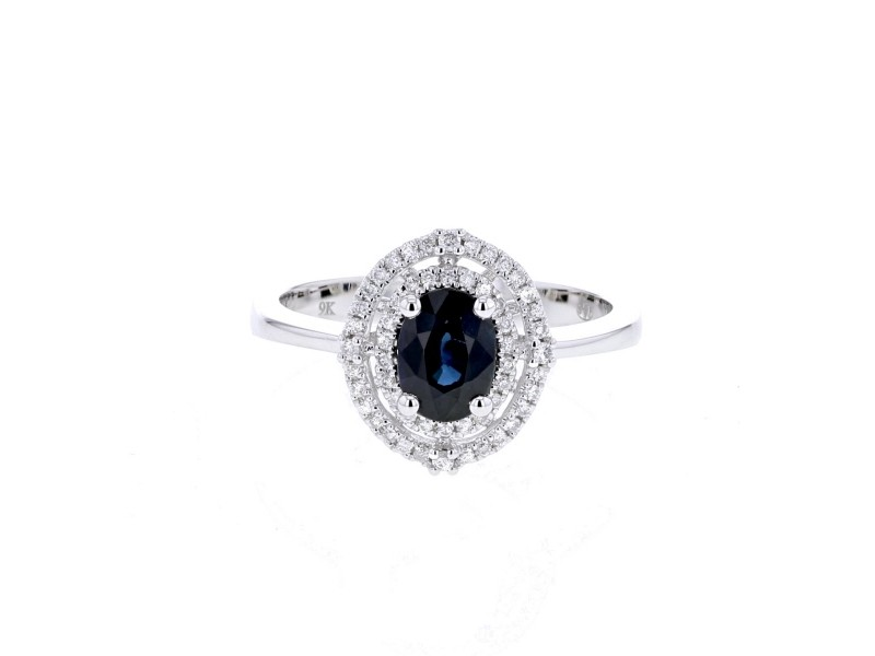 Sapphire and diamonds ring in white gold - 18 K gold: 3.40 Gr
