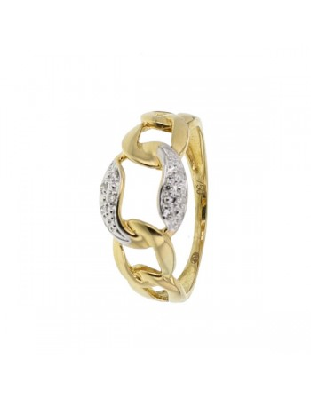 Ring with links pave set diamonds in 18 K gold