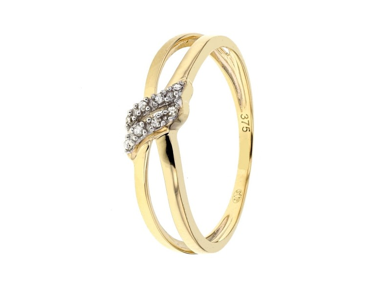 Ring crossover bands with diamonds in 18 K gold