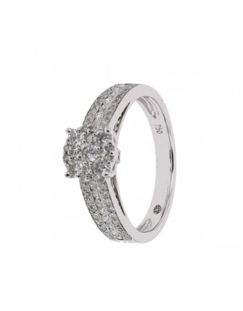 Bague multi-pierres diamants illusion de solitaire diamant en or blanc
