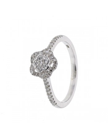 Bague fleur multi-pierres diamants en or blanc