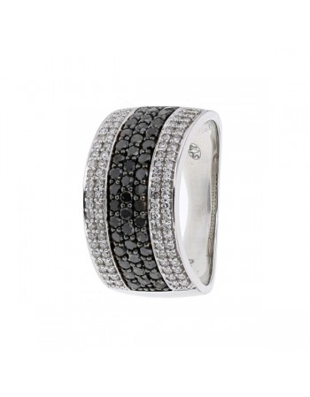 Pave set ring with black and white diamonds in 18 K gold