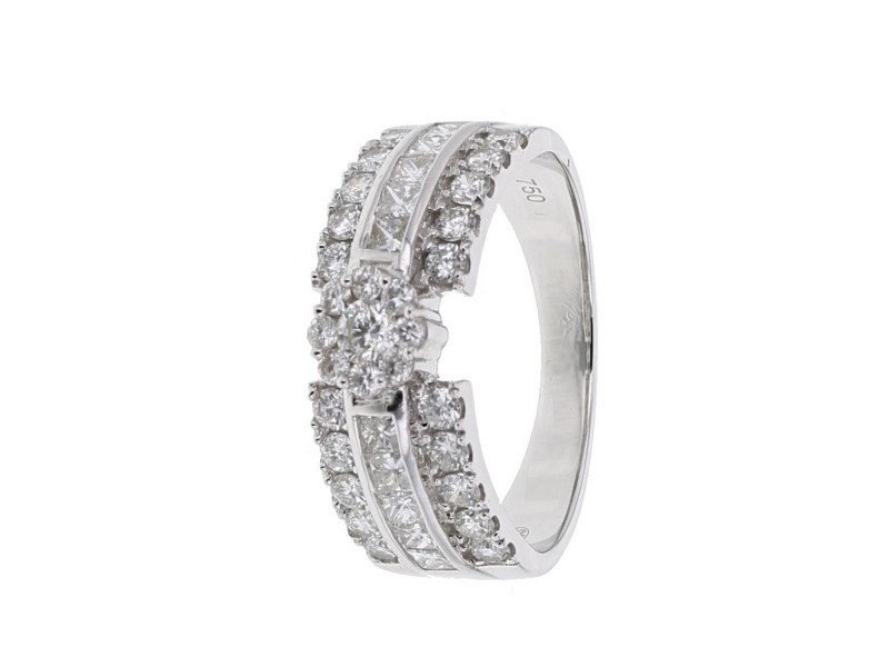 Diamond engagement ring in white gold - 18 K gold: 5.45 Gr