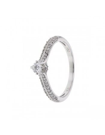 Diamond ring in white gold - 18 K gold: 2.37 Gr