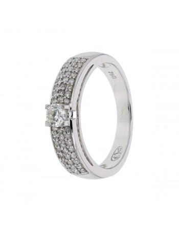 Diamond engagement ring in white gold - 18 K gold: 4.40 Gr