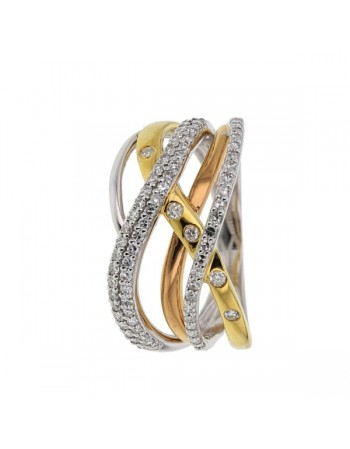 Two-colour multi-strand ring with diamonds in 18 K gold