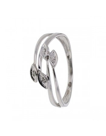 Bague feuille pavee diamants en or blanc