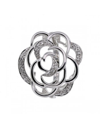 Camelia shape ring with pave set diamonds in 18 K gold
