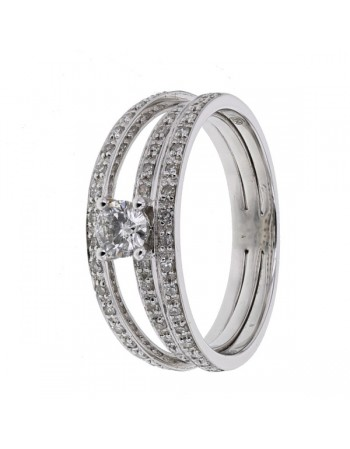 Pave set diamonds engagement ring in 18 K gold