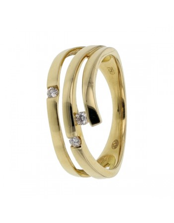 Bague pave diamants en or jaune
