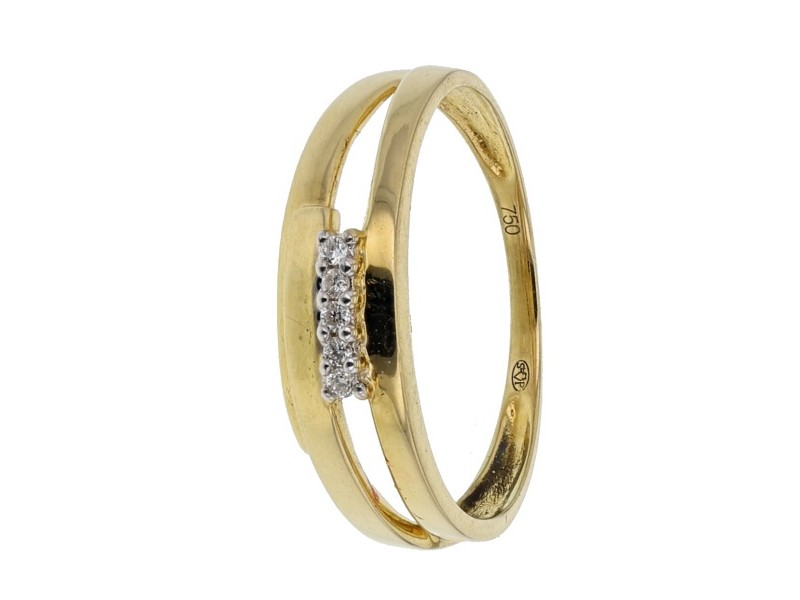Bague diamants en or jaune