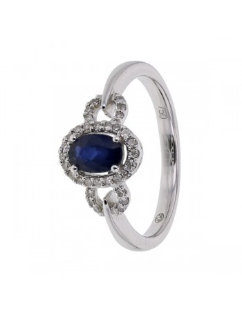 Sapphire and diamonds ring in white gold - 18 K gold: 3.19 Gr