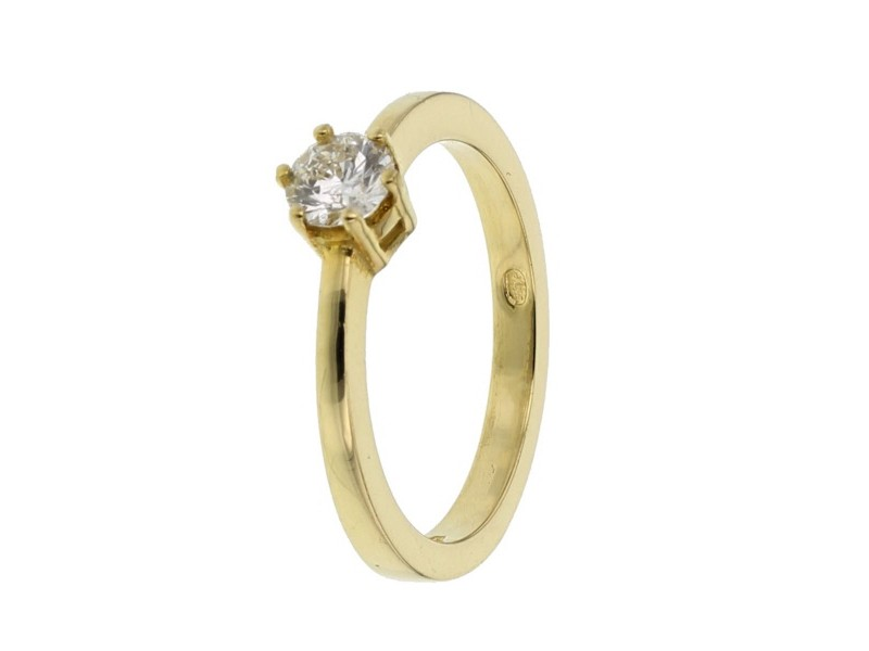 Diamond engagement ring in yellow gold - 18 K gold: 3.30 Gr