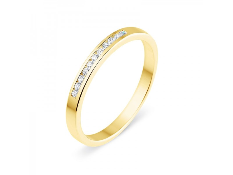 Diamond wedding ring in yellow gold - 18 K gold: 1.98 Gr