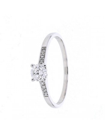 Diamond engagement ring in white gold - 18 K gold: 1.48 Gr