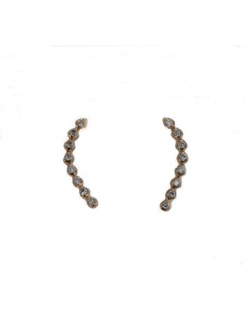 Boucles d'oreilles montante gouttes pavées diamants en or rose