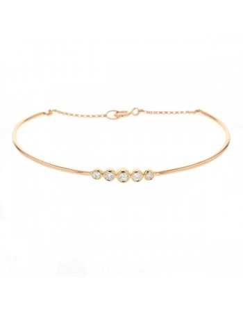 Diamond bracelet in rose gold - 9 K gold: 2.65 Gr