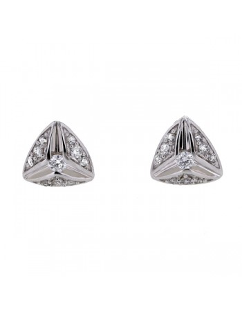 Boucles d'oreilles solitaires diamants accompagnés en matrix triangles en or blanc