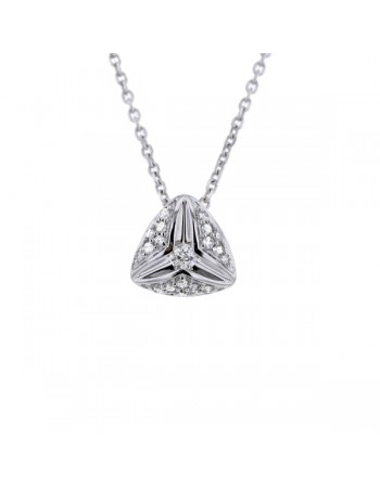 Collier solitaire diamant accompagné de diamants en matrix triangle en or blanc