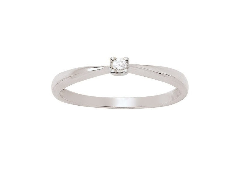 Diamond engagement ring in white gold - 18 K gold: 1.80 Gr