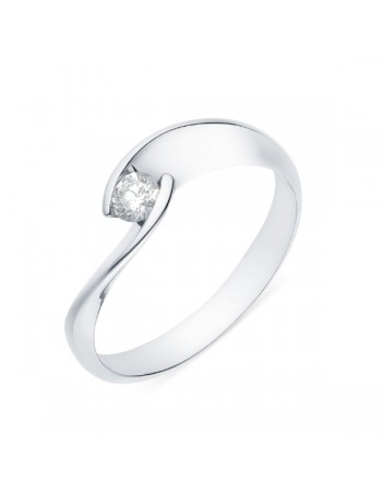 Diamond engagement ring in white gold - 18 K gold: 3.00 Gr