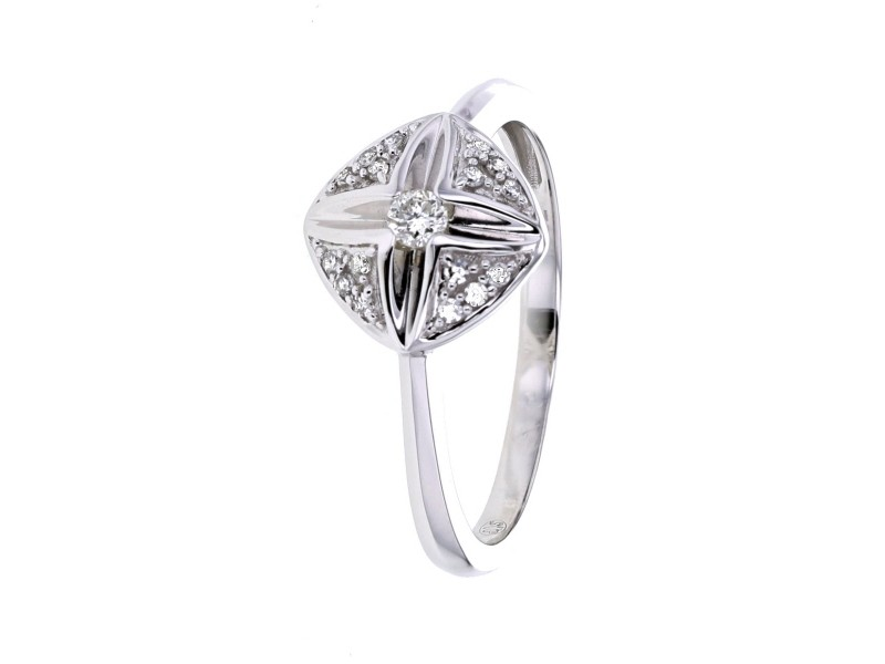 Diamond ring in white gold - 18 K gold: 3.15 Gr