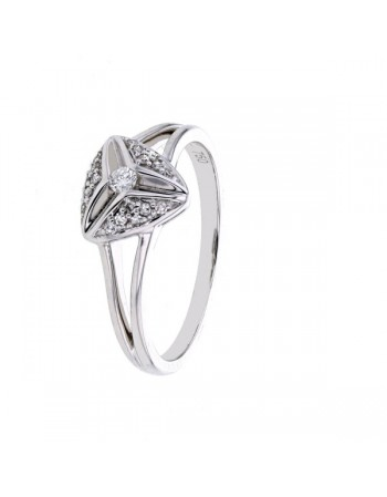 Diamond ring in white gold - 18 K gold: 3.06 Gr