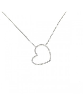 Diamond necklace in white gold - 18 K gold: 3.15 Gr