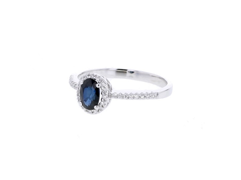 Sapphire and diamonds ring in white gold - 9 K gold: 1.85 Gr