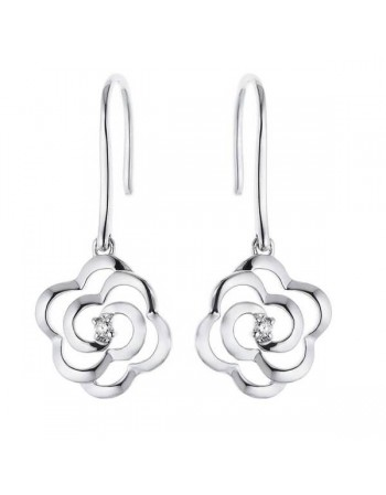 Silver and diamonds earrings - silver 925/1000: 1.75 Gr