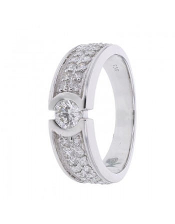 Diamond engagement ring in white gold - 18 K gold: 5.40 Gr