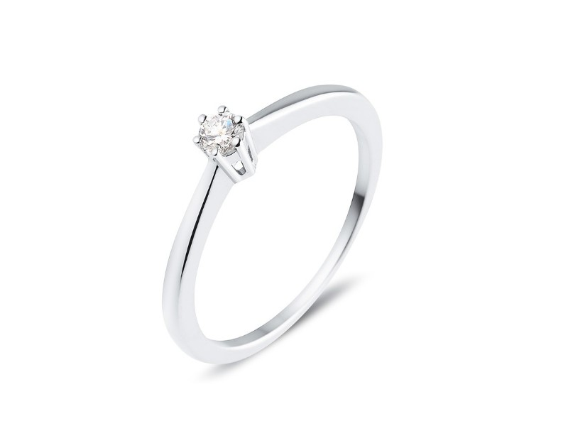 Diamond engagement ring in white gold - 18 K gold: 2.10 Gr
